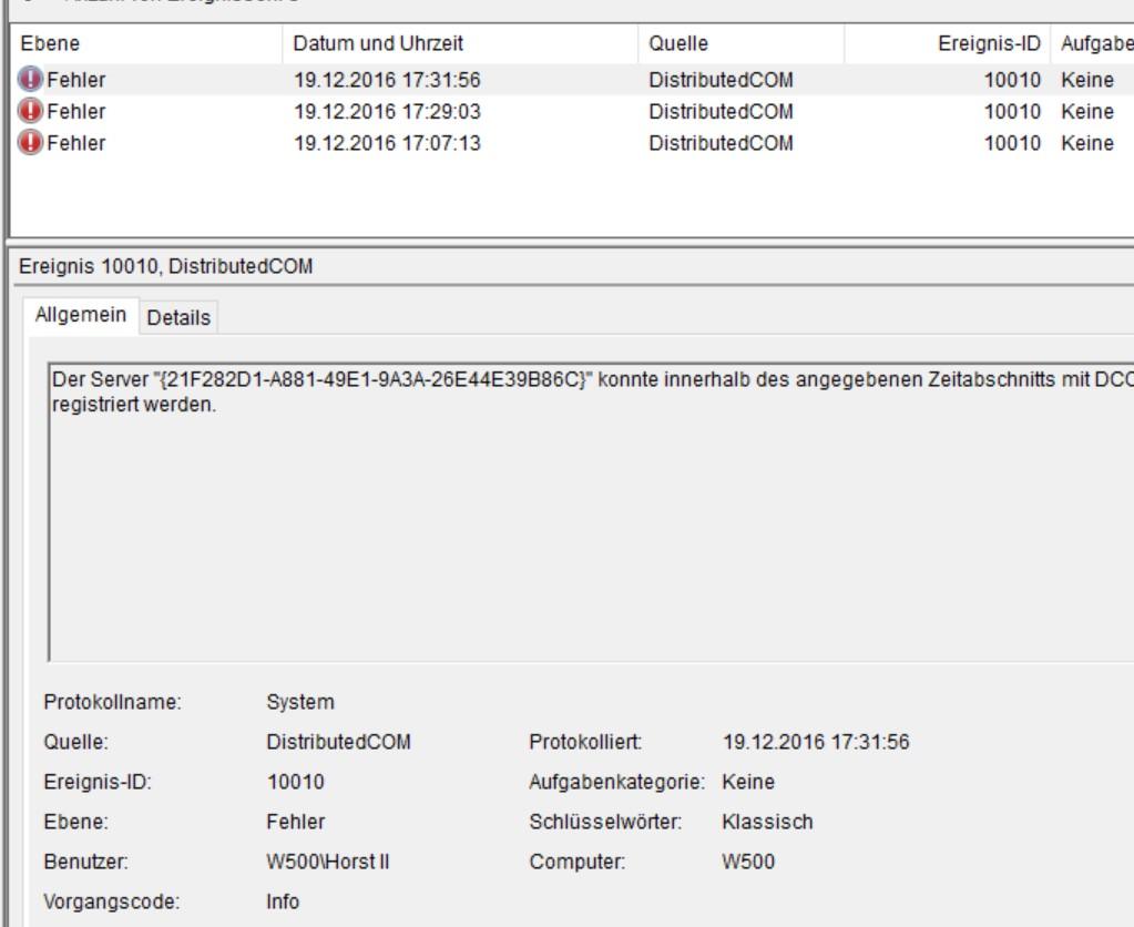Nach Update KB3206632 DCOM Fehler ID 10010,