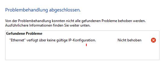 ethernet verfügt über keine gültige ip konfiguration windows 10