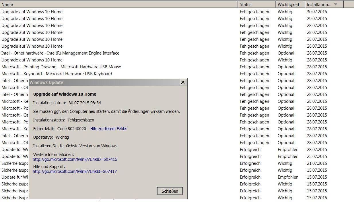 Windows Upgrade fehlgeschlagen Fehlercode: 80240020