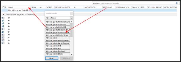 Outlook Kontakte Als Liste Nach Wahl Sortieren Und Drucken