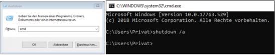 Windows 10 Herunterfahren Timer