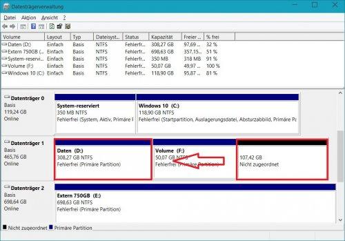 Datenträgerverwaltung - Partitionsübergreifend erweitern .jpg