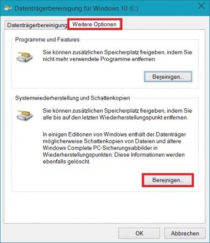Datenträgerbereinigung - Systemdateien bereinigen weitere Optionen Wiederherstellungspunkte.jpg