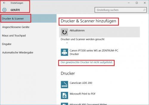 Einstellungen - Geräte - Drucker hinzufügen.jpg