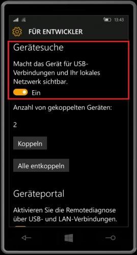 Windows 10 Mobile - Einstellungen - Entwickler - Gerätesuche aktivieren.jpg