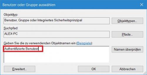 Eigenschaften Laufwerk - Tab Sicherheit - Erweitert - Benutzer oder Gruppe wählen.jpg